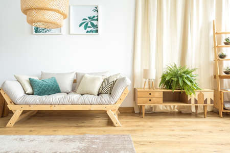 Pé de samambaia grande em uma cômoda ao lado de uma pequena lâmpada e um sofá aconchegante em um interior de sala de dia