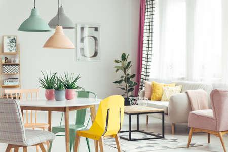 Aloë in roze potten op houten tafel in pastel appartement interieur met plant en fauteuil naast bank met kussens