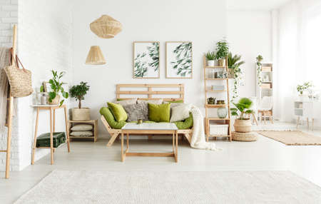 Green pillows on sofa and wooden table in spacious bright living room interior with lamps, leaves posters and plants Фото со стока