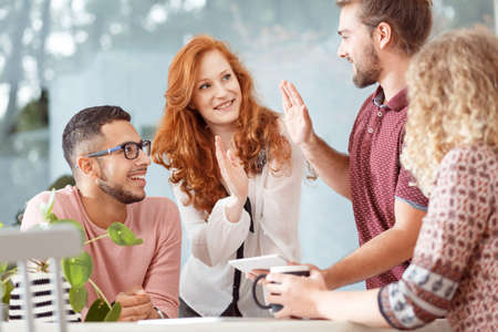Good cooperation between businesswoman and an employee in the office Stock Photo
