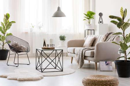 Czarny stół na białym okrągłym dywanie w jasnym wnętrzu salonu z fotelem i sofą obok rośliny i pufy