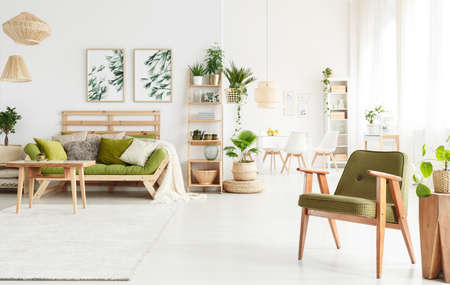 Spacious flat interior with green armchair and sofa in the living room and dining room in the background 版權商用圖片