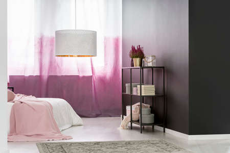 Big round lampshade hanging in cozy pink bedroom interior with books, boxes and potted plant on black metal rack Stock Photo