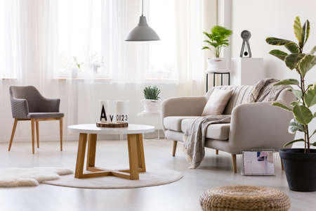 Wooden table between armchair and couch in cozy living room interior with pouf and ficus Stockfoto