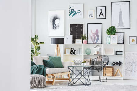 Gallery of posters above cupboard in apartment interior with cactus on table near beige sofa and black armchair 写真素材