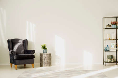 Dark armchair next to table with plant in simple living room with copy space on white wall Stock Photo