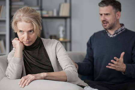Wife refusing to listen to her nervous, screaming husband and giving him the silent treatment