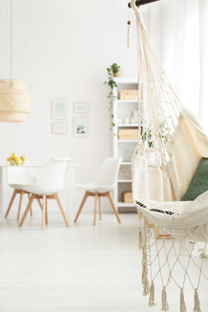 Close-up of brazilian chair hanging in white dining room interior with table and white chairs in blurred background