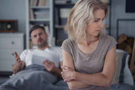Offended and sad woman feeling bad after arguing with her husband