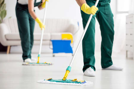 Professional cleaning team wiping the floor using mops in the flat Stok Fotoğraf