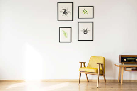 Copy space of white wall with posters in simple retro room interior with yellow armchair next to a wooden table with radio