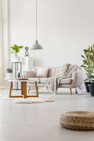 Stylish living room interior with bright sofa, wooden table and fresh plants