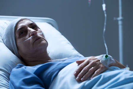 Sick senior woman with cancer after chemotherapy in the health center Stock fotó - 96924613