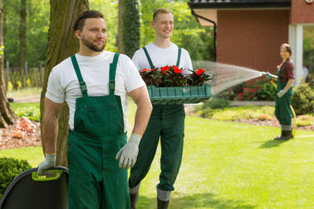 Smiling team of gardeners in dungarees maintaining a vast garden