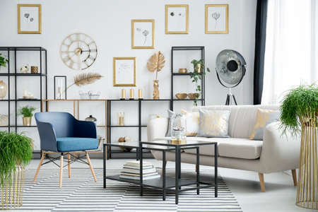 Blue armchair and settee near table in living room interior with gold clock on white wall with gallery