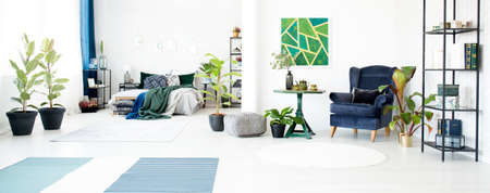 Ficus, armchair and green table in spacious floral living room interior with bed and green painting