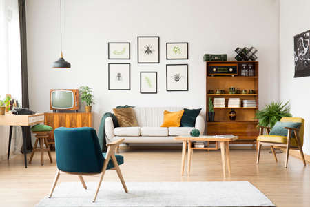 Old tv and radio in retro style flat interior for hipster