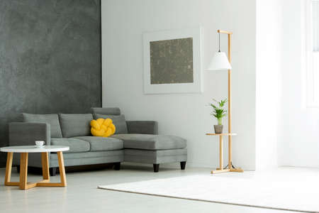 Grey painting on white wall above sofa with yellow pillow in apartment interior with plant and table 스톡 콘텐츠