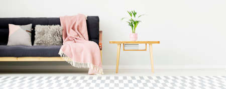 Grey cushions and pink blanket on black couch next to wooden table with plant in apartment interior with patterned carpet and copy space Stock Photo