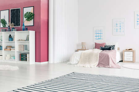 Striped carpet in bright open space interior with white shelves against pink wall with posters Stock Photo