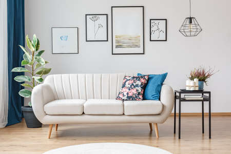 Gallery of posters on white wall in living room interior with beige sofa, ficus and black table Фото со стока