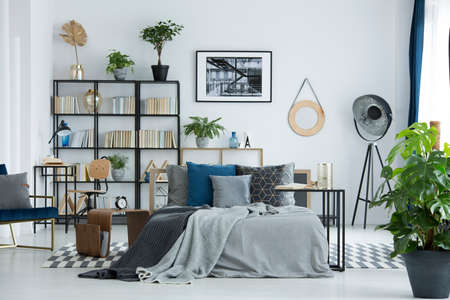 Grey bedsheets on bed in multifunctional bedroom interior with lamp and plants on shelves with books