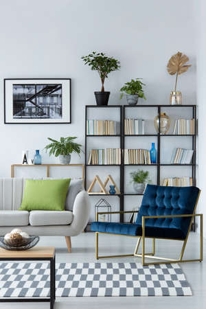 Blue armchair next to sofa with green pillow in living room interior with plants and poster