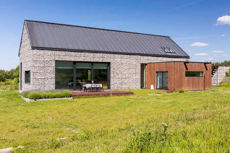 View of modern stone house in a nice and quite countryside