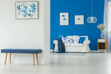 Simple entrance to a minimalist living room interior with blue blanket on white couch