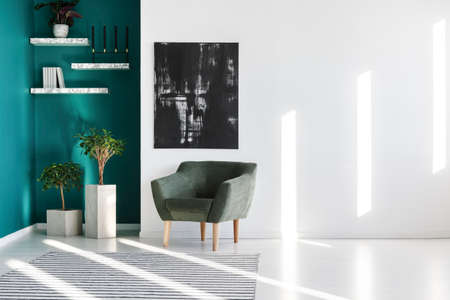 Grey armchair next to plants and black painting on the wall in a living room interior Reklamní fotografie