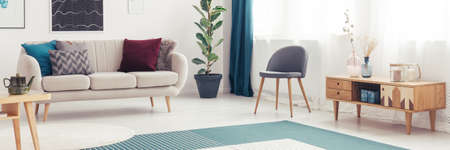 Grey chair next to wooden cupboard in cozy living room interior with beige sofa and ficus Imagens