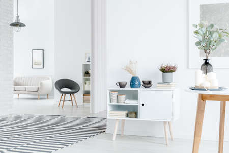Heather on cupboard in spacious white apartment interior with striped carpet and grey chair