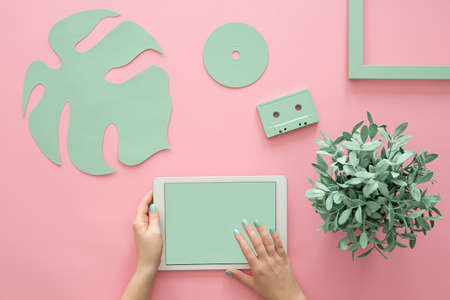 Top view of a plant and mint green objects arrangement on a rose quartz background and female hands holding a tablet Stock Photo