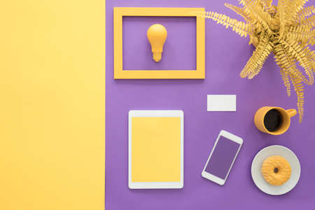 Primrose yellow and ultra violet business card illustration of a top view on a lifestyle blogger workspace with smartphone and coffee