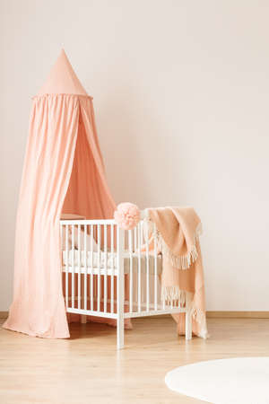 Minimalist, white crib with a pastel pink canopy for a baby girl by a white, empty wall in a cute, modern nursery room interior