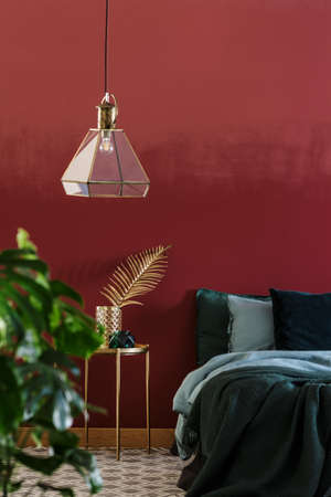 Glass lamp, plant and double bed with green blanket in maroon bedroom interior