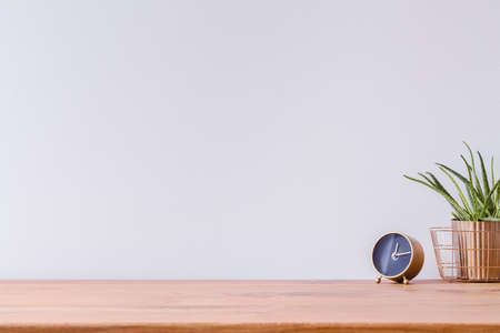 Photo of wooden home office desk with black and gold clock and fresh green plant against white empty wall Standard-Bild