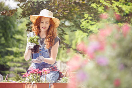 Young woman moving plants and flowers to bigger containers on a warm spring day