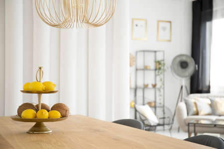 Citruses on wooden table under gold lamp in dining room interior Imagens