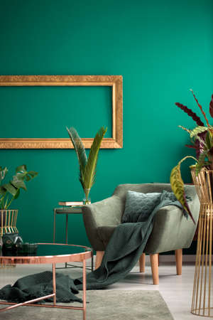 Cozy, emerald blanket and cushion on a retro armchair with wooden legs in a botanic green living room interior with golden elements