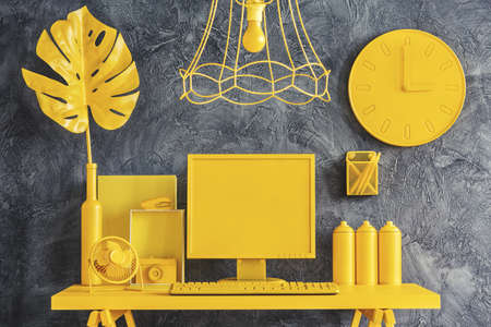 All yellow office workspace concept in modern designer interior with dark gray walls Reklamní fotografie - 98870815