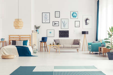 Navy blue living room interior with couches, poster collection and king-size bed