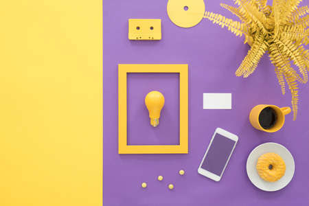 Creative yellow and violet contrast illustration design of a business card for a young start-up firm with copy space