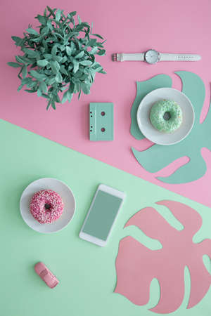 Cute pastel green and pink lifestyle blogger aesthetic composition with mock-up screen of a smartphone, plant and wrist watch Stock Photo