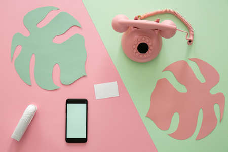 Pastel pink vintage phone on a pale green surface, modern smartphone, empty business card and leaf stencils geometric composition