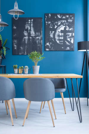Plant on wooden table in dining room interior with black paintings on blue wall