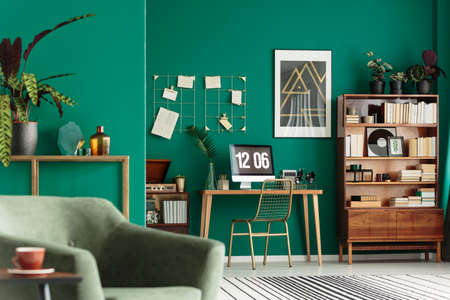 Green living room interior with books on wooden cupboard and desk for remote work