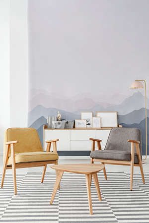 Grey and mustard armchairs standing on striped carpet in bright room interior with white cupboard