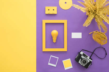 Yellow lightbulb in frame next to a camera, fern and cassette on violet background 版權商用圖片