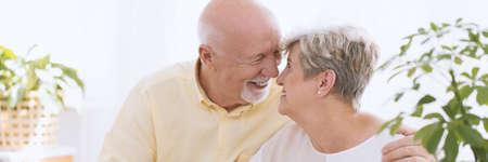 Un ritratto del primo piano di una coppia senior felice - un uomo caucasico più anziano e una donna che abbraccia faccia a faccia, toccando i nasi e sorridendo in una stanza luminosa bianca con le piante